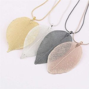 Jewelry - 3d Real Leaf Charm Pendant Maxi Necklace